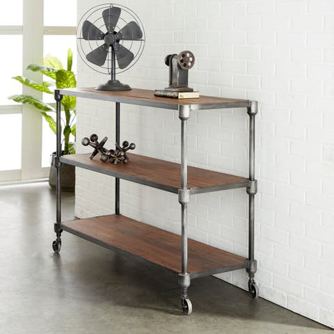 Rustic 36 x 48 Inch Three-Tiered Wood and Iron Shelf