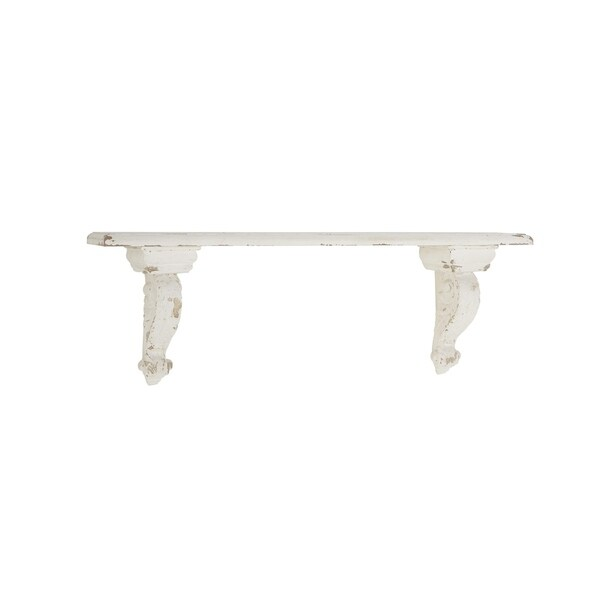 Rustic 7 X 13 Inch Distressed White Wall Shelf