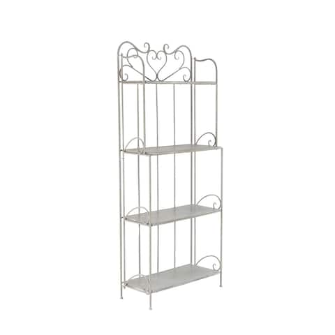 Traditional 68 x 12 Inch Gray Wood and Iron Four-Tier Bookshelf