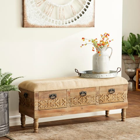 Rustic 20 x 47 Inch Three-Drawer Storage Bench with Cushioned Seat