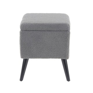 Eclectic 19 x 15 Inch Gray Storage Stool