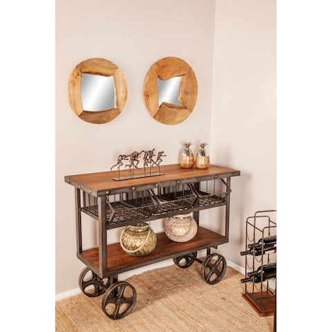 Rustic 36 x 48 Inch Iron and Teak Two-Tiered Trolley Cart with Baskets