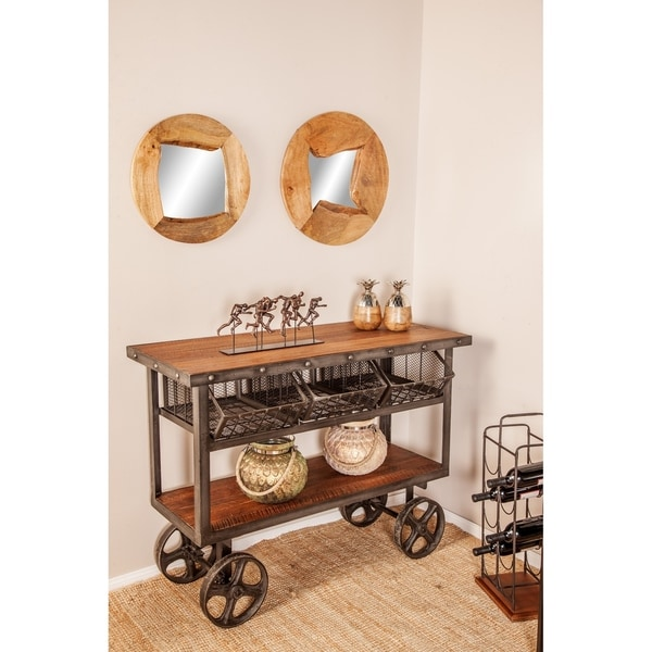 Shop Rustic 36 X 48 Inch Iron And Teak Two Tiered Trolley