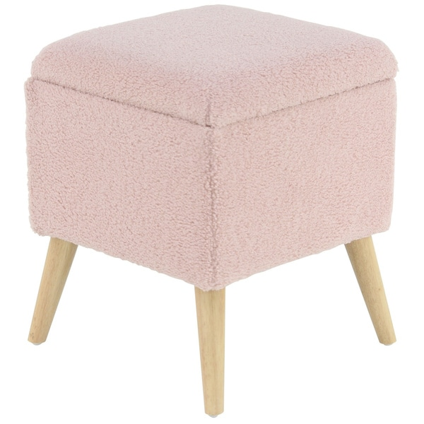 Eclectic 19 x 15 Inch Pink Square Storage Stool by Studio 350