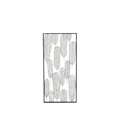 Natural 22 x 46 Inch Iron Framed Stylized Leaves Wall Decor