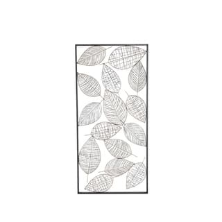 Natural 22 x 46 Inch Iron Framed Leaves Wall Decor