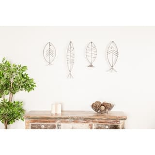 Set of 6 Coastal Black Metal Fish Imitation Wall Decor