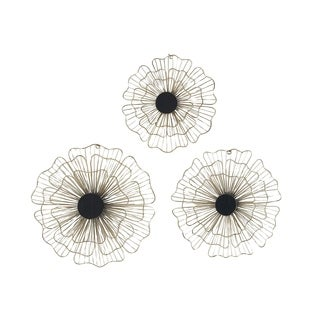 Set of 3 Natural 13, 15 and 16 Inch Gold Iron Floral Wall Art