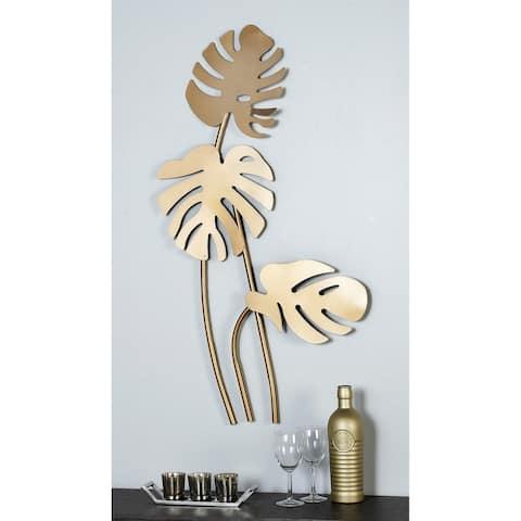 "Large Metallic Gold Metal Palm Leaf Sculptures Wall Decor 21"" x 42"""