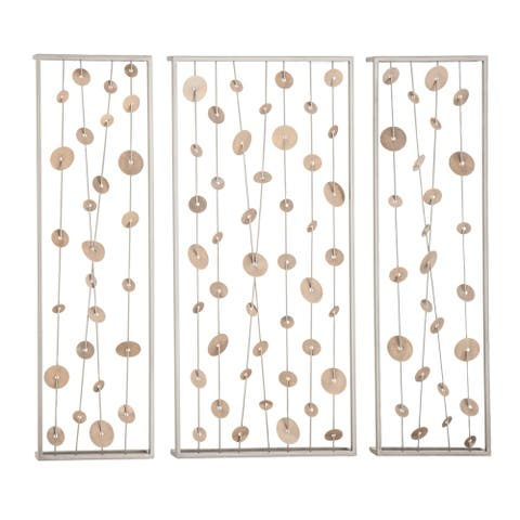 Set of 3 Contemporary 32 Inch Iron Framed Abstract Wall Decor