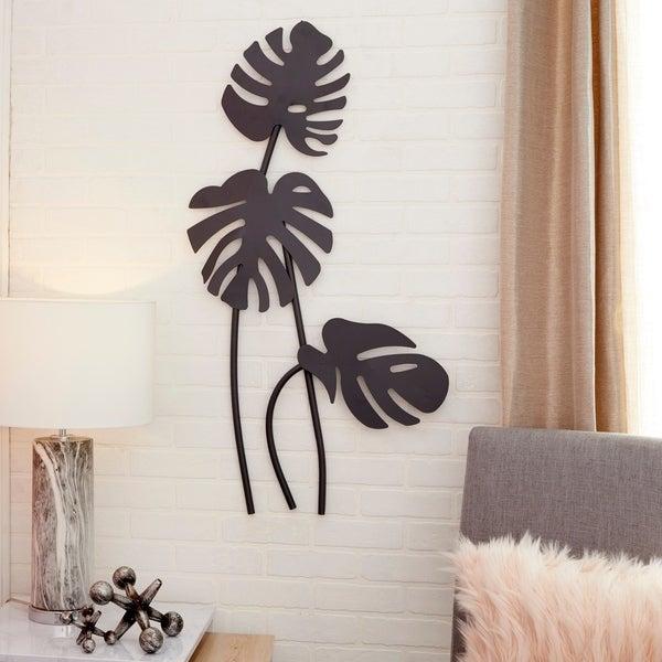 472839b83073 Shop Large Black Palm Leaf Sculptures Metal Wall Decor 21