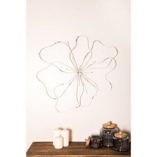 Farmhouse 27 x 33 Inch Distressed White Iron Floral Wall Decor