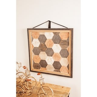 Rustic 28 x 28 Inch Wood and Iron Framed Hexagon Wall Decor