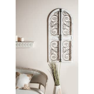 Farmhouse 52 x 24 Inch Wood and Iron Door-Style Wall Decor