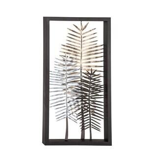 Modern 34 x 18 Inch Iron Framed Leaves Wall Decor