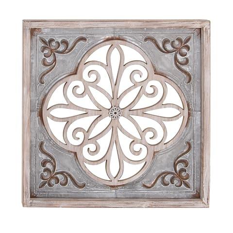 Traditional 36 x 36 Inch Wood and Iron Flourish Wall Decor