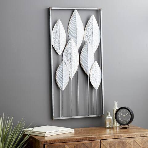 Modern 36 x 18 Inch Silver and Gray Framed Leaf Wall Decor