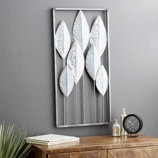 Modern 36 x 18 Inch Silver and Gray Framed Leaf Wall Decor