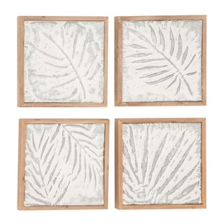 Set of 4 Natural 11 Inch Wood and Iron Framed Leaf Wall Decor