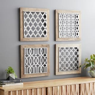 Set of 4 Traditional 19 Inch Brown and Black Geometric Wall Decor