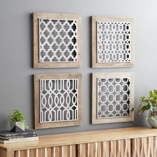 Link to Set of 4 Traditional 19 Inch Brown and Black Geometric Wall Decor Similar Items in Wall Sculptures