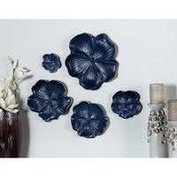 Set of 5 Natural 4, 6, 7, 9 and 11 Inch Blue Ceramic Floral Wall Trays