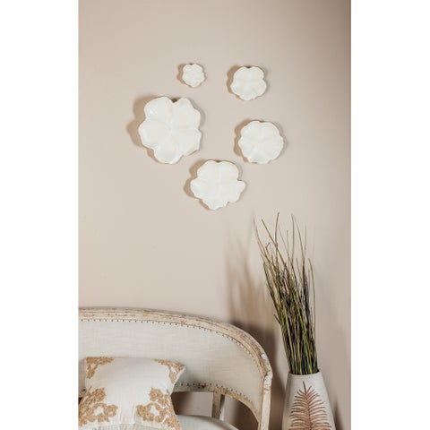 Set of 5 Natural 4, 6, 7, 9 and 11 Inch White Floral Wall Trays