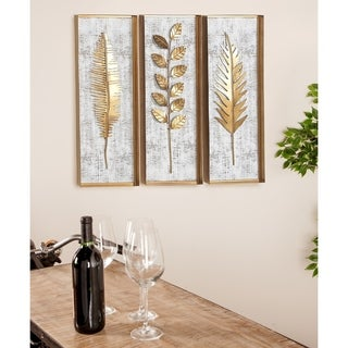 Set of 3 Natural 32 Inch Rectangular Wood and Metal Wall Decor