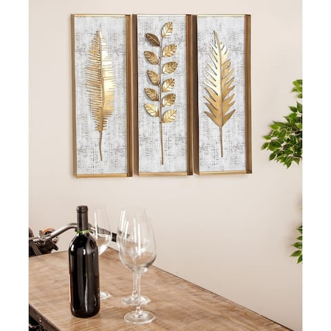 Set of 3 Modern 32 x 12 Inch Framed Leaves Wall Decor by Studio 350