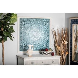 Rustic 34 x 33 Inch off-White and Teal Floral Wall Decor