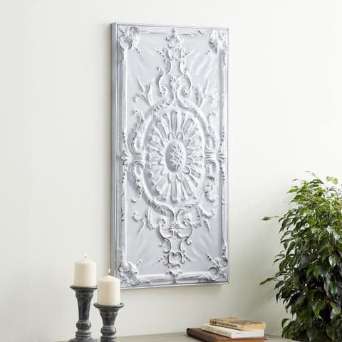 Traditional 37 x 19 Inch White Metal Sunflower and Scroll Wall Decor