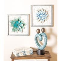 Set of 2 Natural 16 x 16 Inch Square Framed Lotus Flower Wall Decor