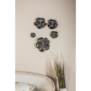 Set of 5 Natural 4, 6, 7, 9 and 11 Inch Black Floral Wall Trays
