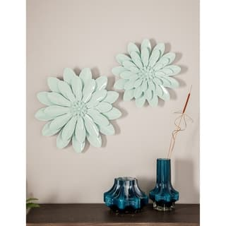 Set of 3 Eclectic 16, 20 and 24 Inch Light Blue Iron Flower Wall Decor