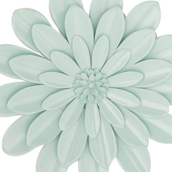 24 Inch Light Blue Iron Flower