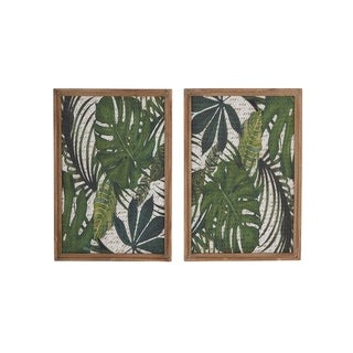 Set of 2 Natural 25 Inch Brown and Green Framed Leaf Art Wall Decor
