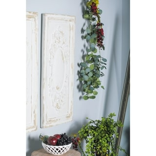 Rustic 39 x 18 Inch Distressed White Floral Wall Plaque