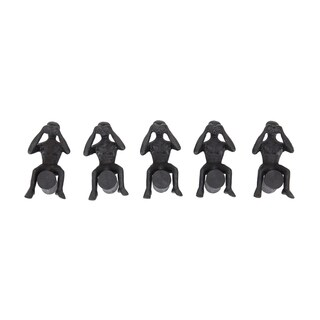 Set of 5 Contemporary 7 Inch Man On Log Iron Gray Sculptures