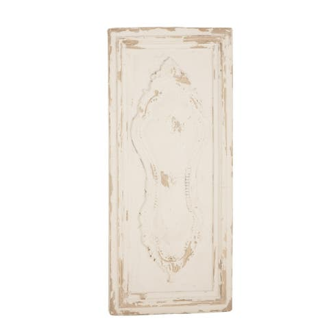 Rustic 39 x 18 Inch Distressed White Fleur-De-Lis Wall Plaque