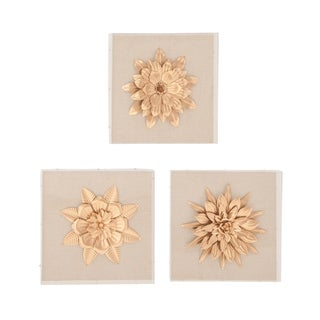 Set of 3 Contemporary 15 Inch Square Wood and Iron Flower Wall Art
