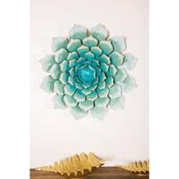 Modern 23 Inch Metallic Teal Iron Floral Wall Decor