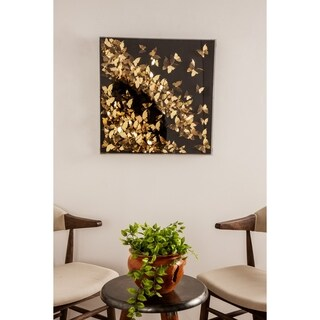 Contemporary 24 x 24 Inch Gold Butterfly Shadow Box Wall Decor