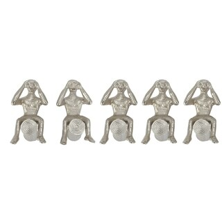 Set of 5 Contemporary 7 Inch Man On Log Nickel Sculptures