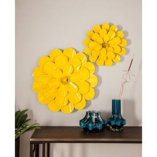 Set Of 3 Eclectic 16 20 And 24 Inch Yellow Iron Flower Wall Decor