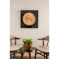 Contemporary 24 x 24 Inch Gold Feather Shadow Box Wall Decor
