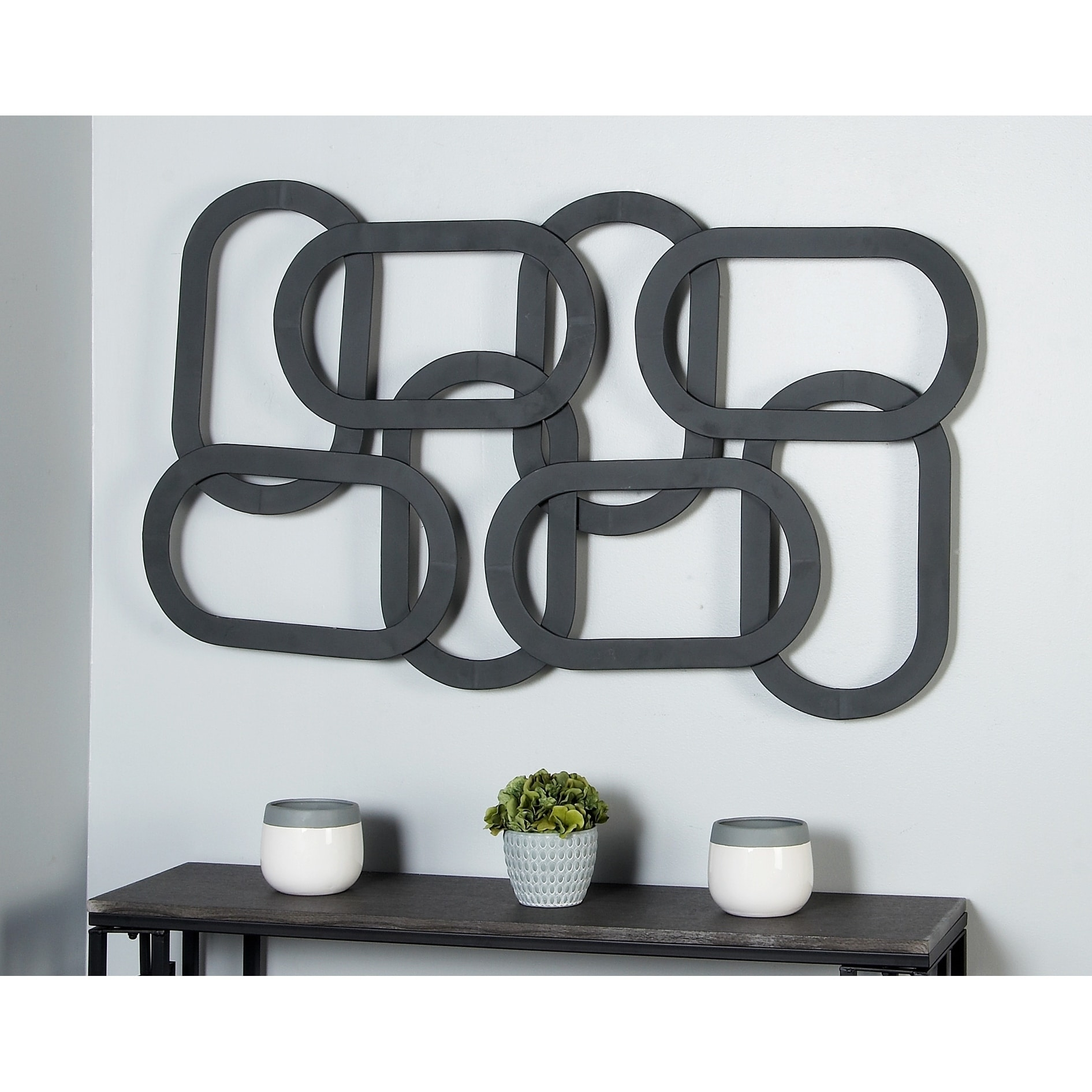 Contemporary 30 X 52 Inch Overlapping Ovals Wall Decor Overstock 20445129