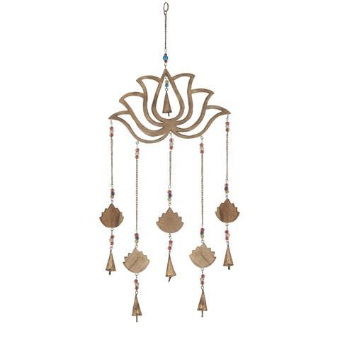 Traditional 30 x 15 Inch Gold Lotus Wind Chime