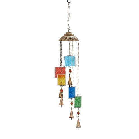 Havenside Home Kenai 29 x 5-inch Multi-colored Square Wind Chime with Glass Beads