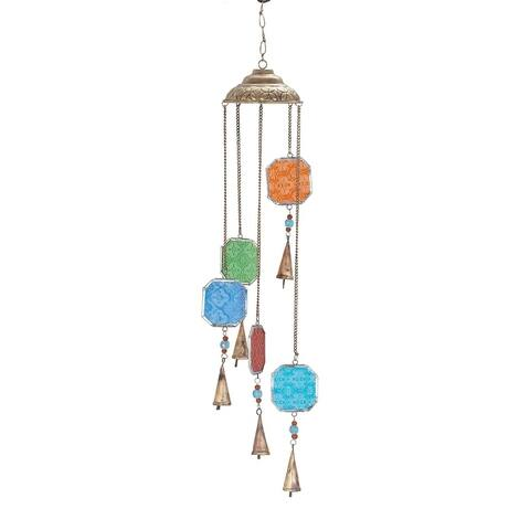 Havenside Home Kenai 29 x 5-inch Octagon Wind Chime with Multi-colored Glass Beads