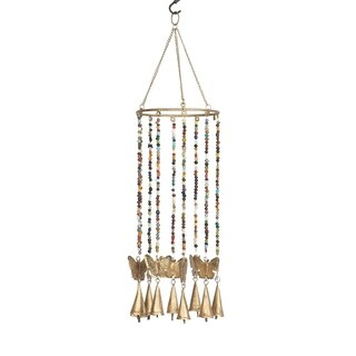 Eclectic 18 x 7 Inch Gold Butterfly Wind Chime with Bead Accents